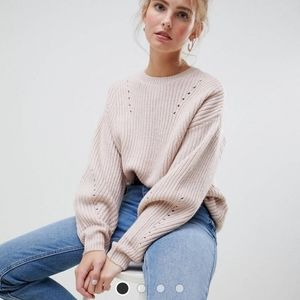 Asos new look crewneck sweater pink size M